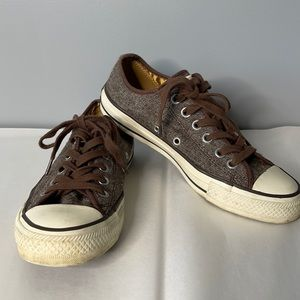 Unisex Converse All Star Gold tag brown tweed lace up sneakers 5/7